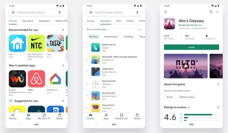 Магазин цифрового контента Google Play Store получил новый дизайн