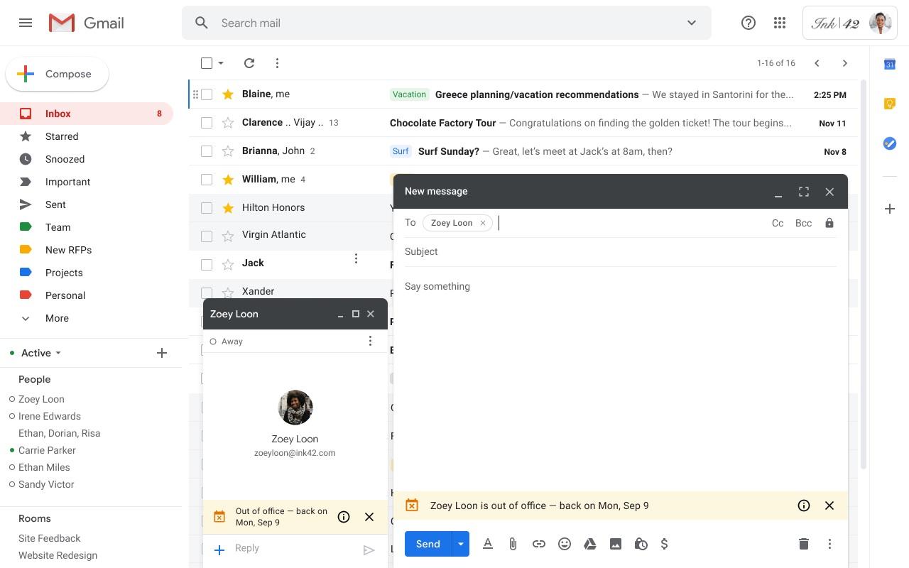 Gmail научился предупреждать корпоративных пользователей об отпуске коллеги до отправления письма