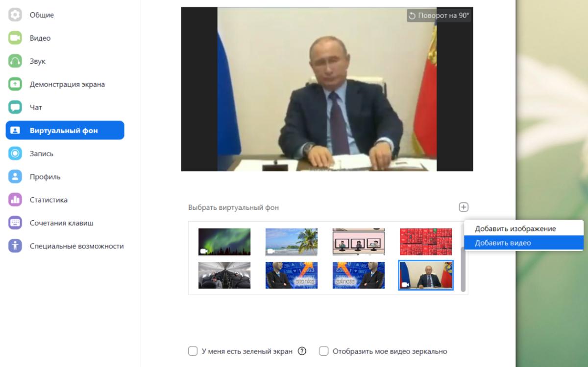 Как поставить скучающего Путина вместо себя в Zoom?