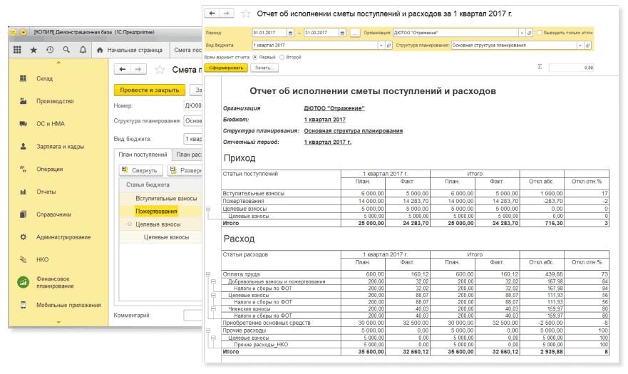 1С:Бухгалтерия некоммерческой организации 8 (НКО)